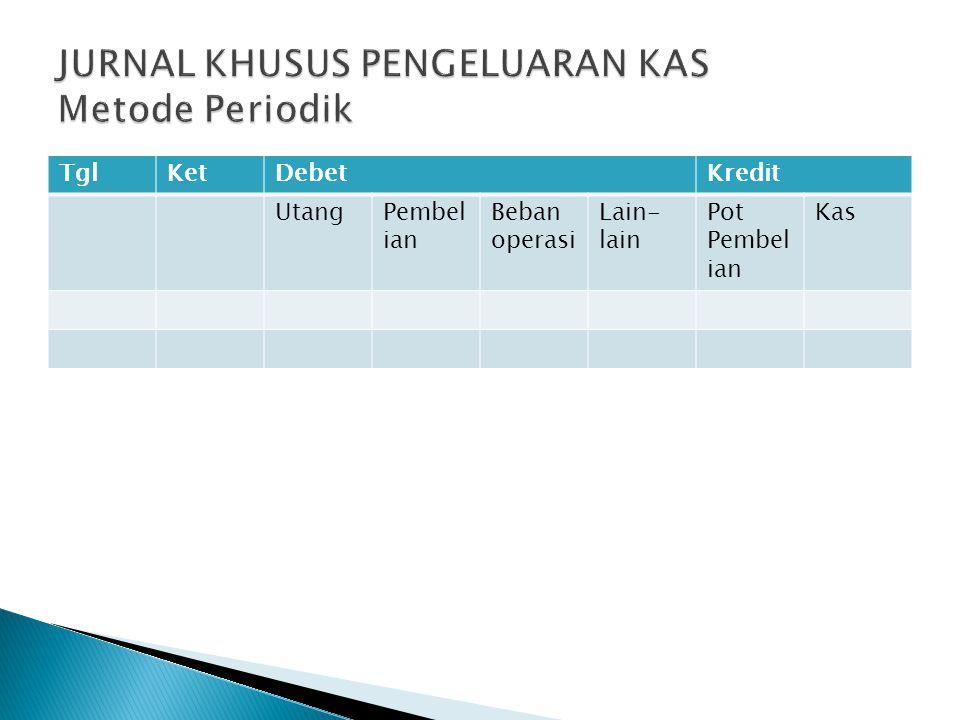JURNAL KHUSUS PENGELUARAN KAS Metode Periodik