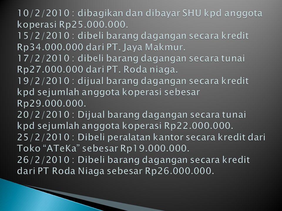 10/2/2010 : dibagikan dan dibayar SHU kpd anggota koperasi Rp25. 000