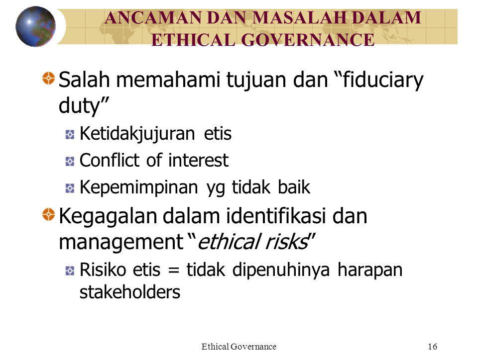 ANCAMAN DAN MASALAH DALAM ETHICAL GOVERNANCE