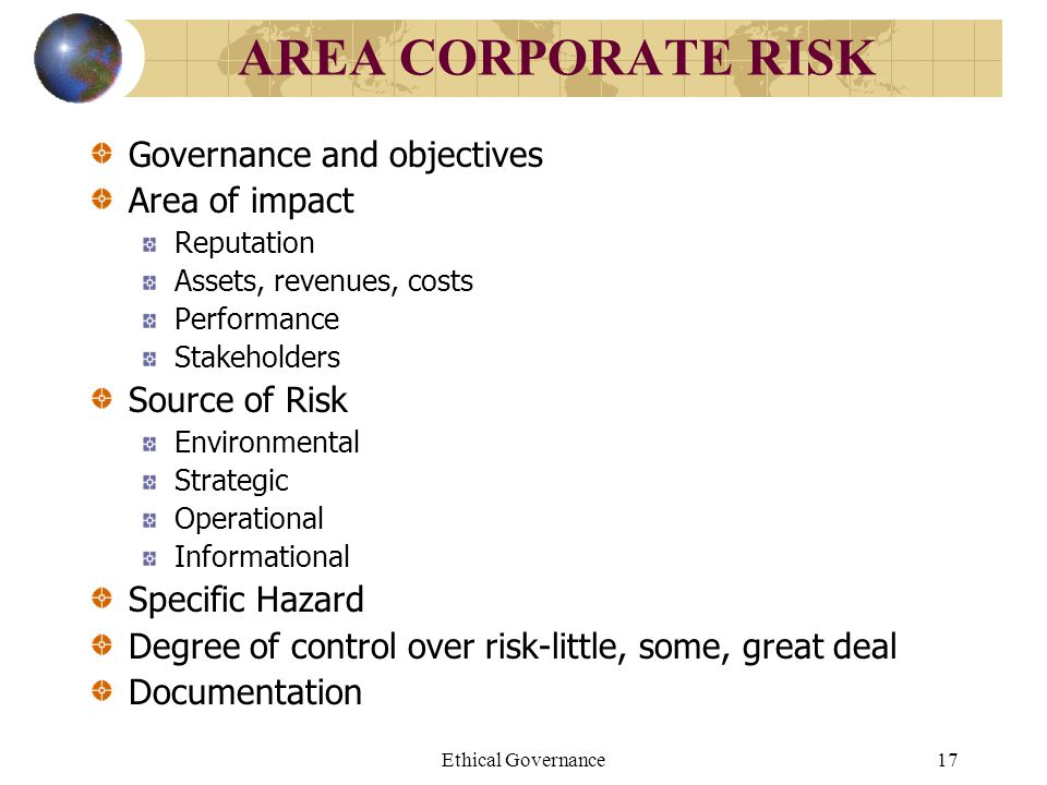 AREA CORPORATE RISK Governance and objectives Area of impact
