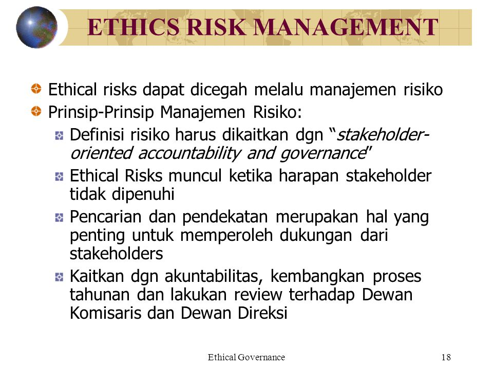 ETHICS RISK MANAGEMENT
