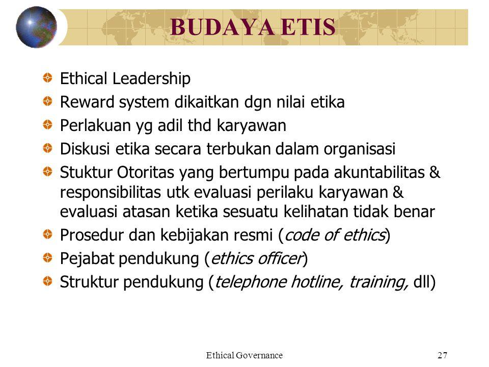 BUDAYA ETIS Ethical Leadership Reward system dikaitkan dgn nilai etika