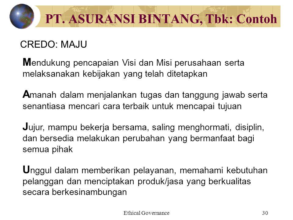 PT. ASURANSI BINTANG, Tbk: Contoh