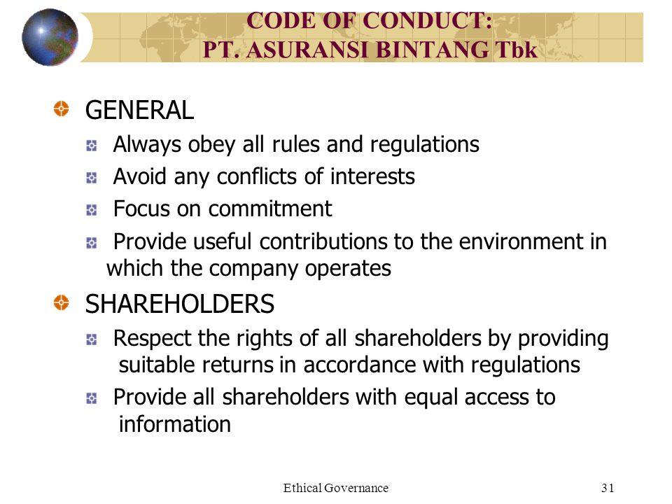 CODE OF CONDUCT: PT. ASURANSI BINTANG Tbk