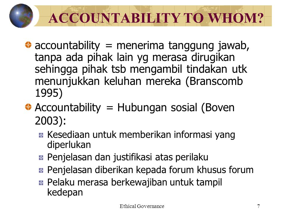 ACCOUNTABILITY TO WHOM