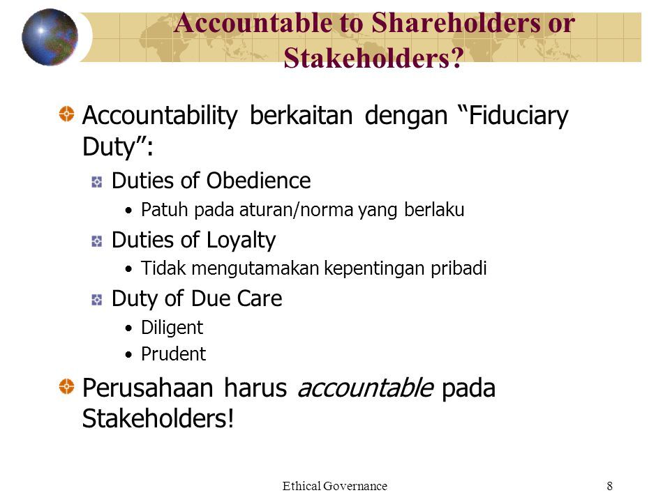 Accountable to Shareholders or Stakeholders