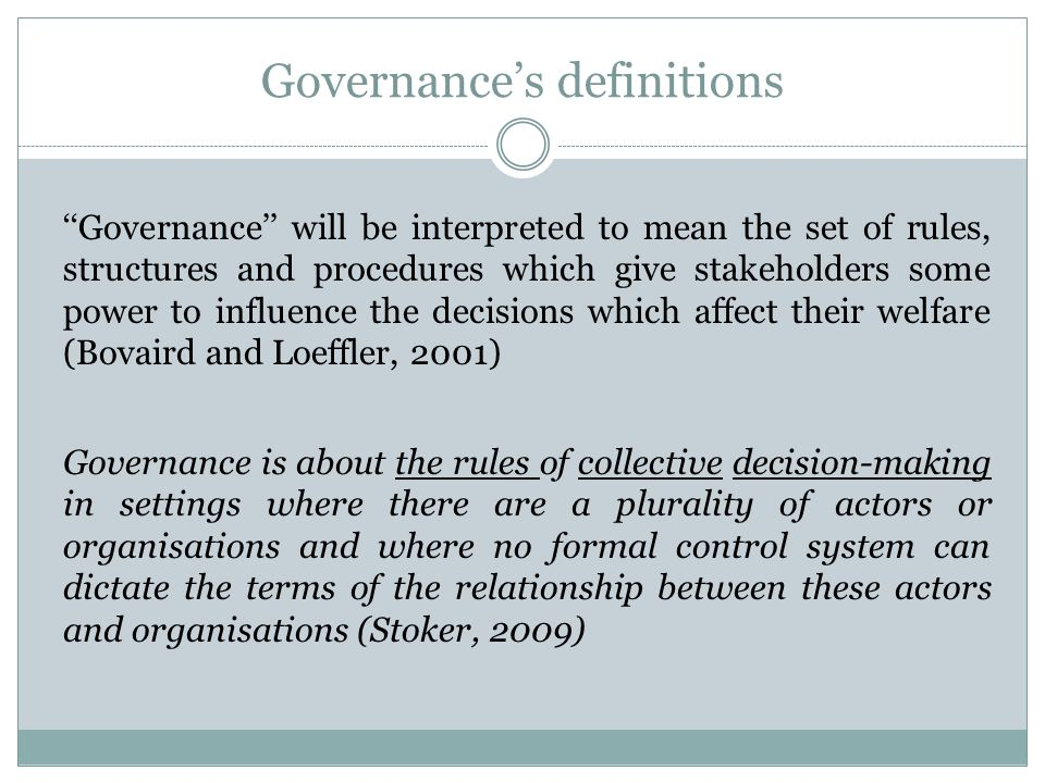 Governance's definitions