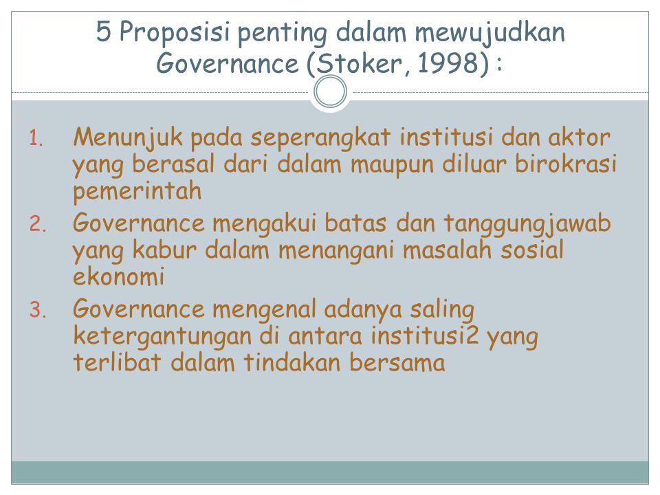 5 Proposisi penting dalam mewujudkan Governance (Stoker, 1998) :