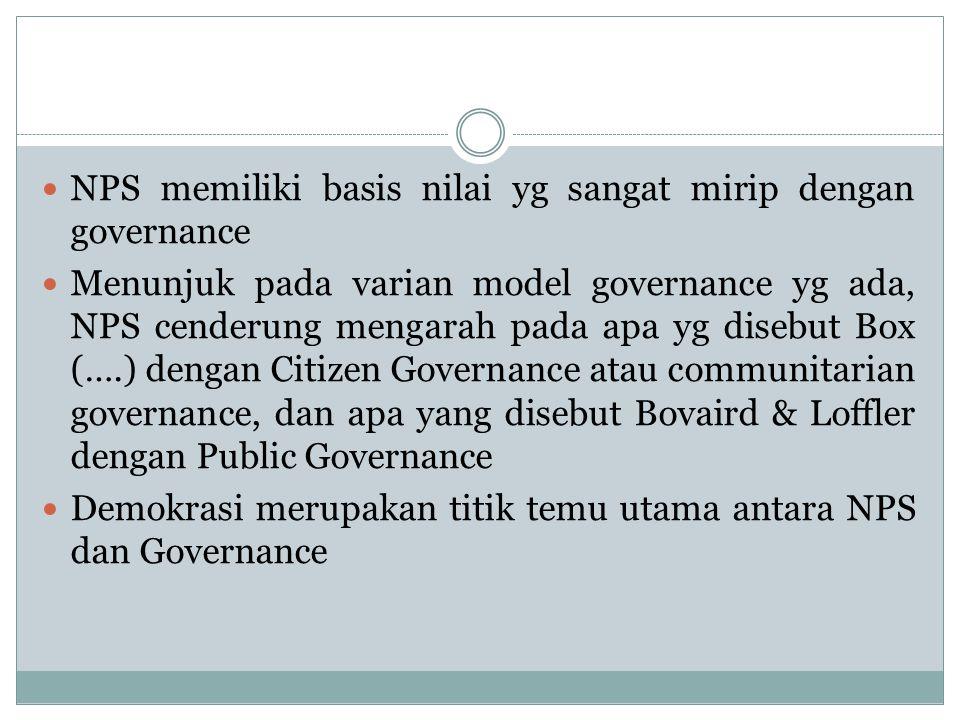 NPS memiliki basis nilai yg sangat mirip dengan governance