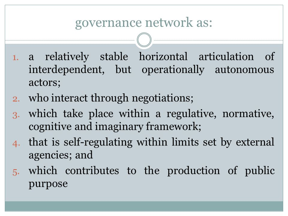 governance network as: