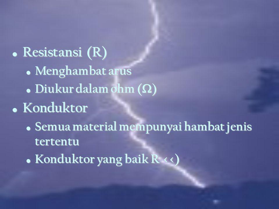 Resistansi (R) Konduktor Menghambat arus Diukur dalam ohm (W)