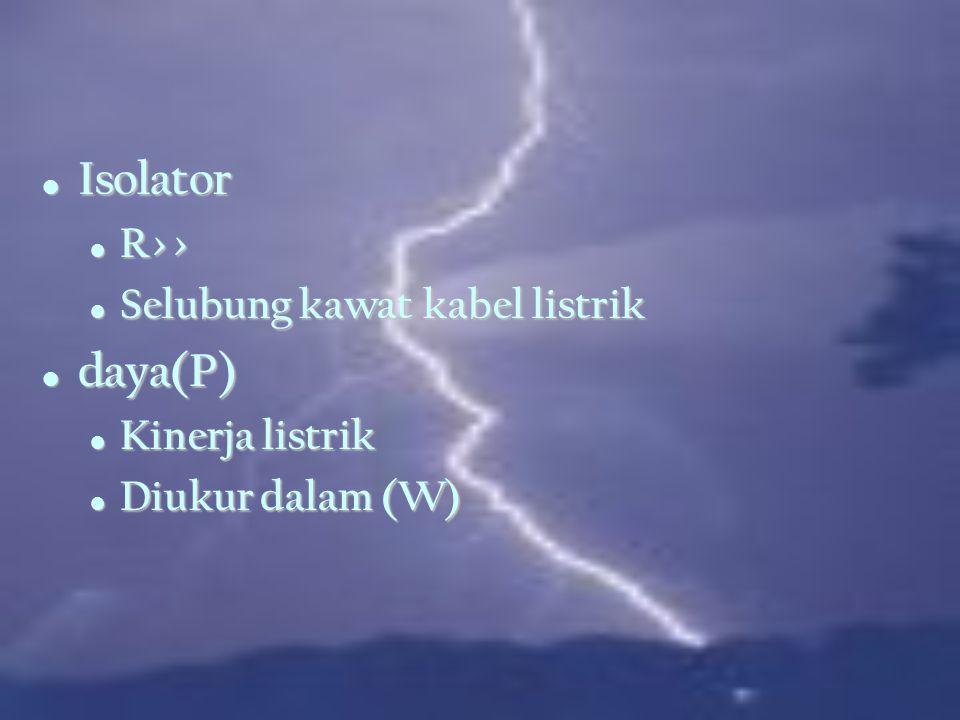 Isolator daya(P) R>> Selubung kawat kabel listrik