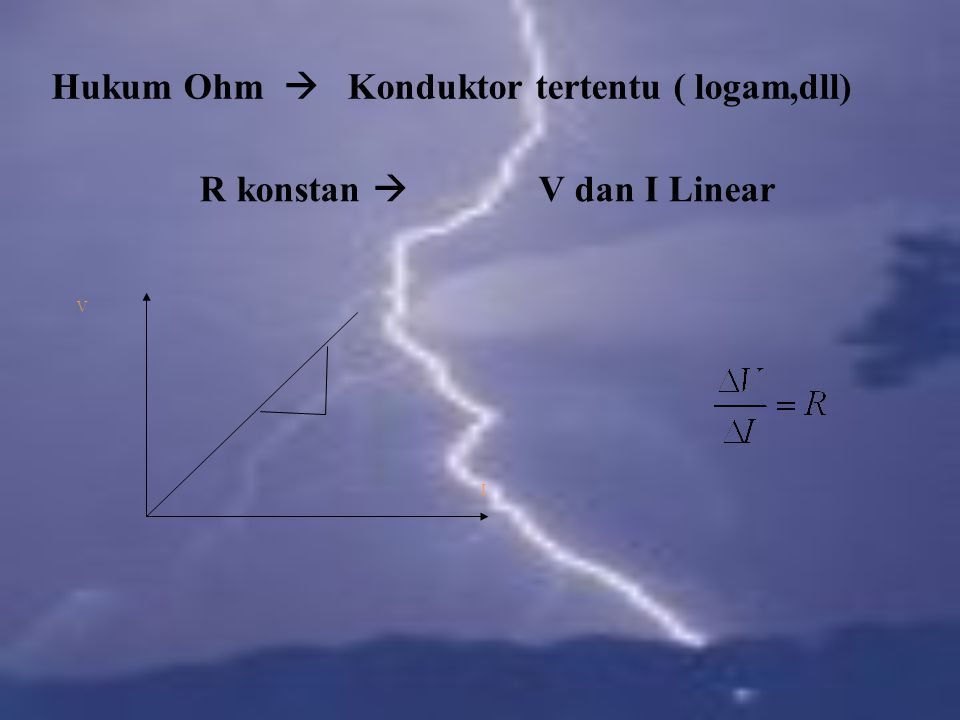 Hukum Ohm  Konduktor tertentu ( logam,dll)