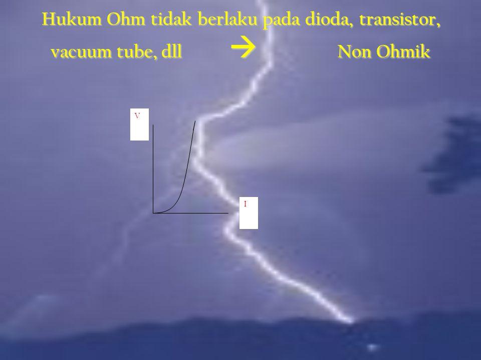 Hukum Ohm tidak berlaku pada dioda, transistor, vacuum tube, dll  Non Ohmik