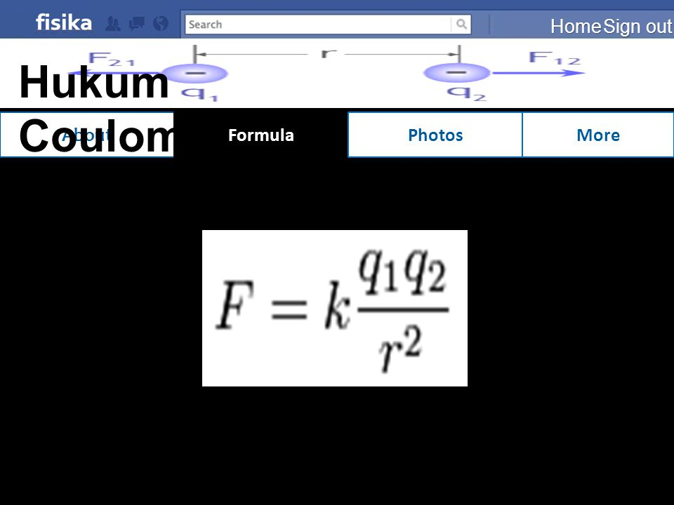 Home Sign out Hukum Coulomb About Formula Photos More