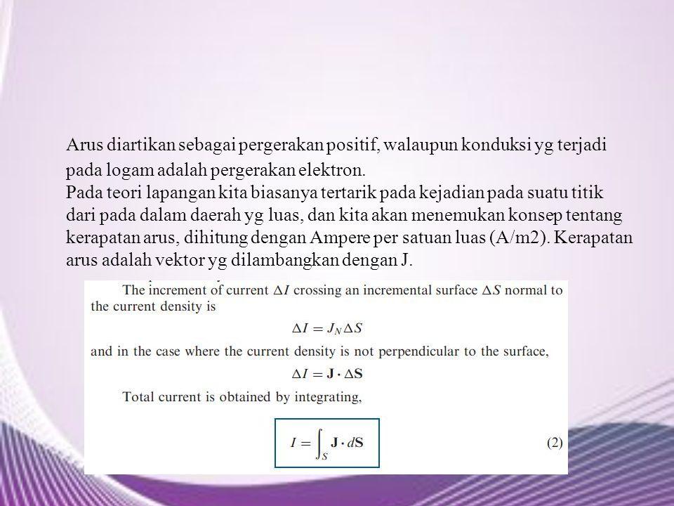 Arus diartikan sebagai pergerakan positif, walaupun konduksi yg terjadi pada logam adalah pergerakan elektron.