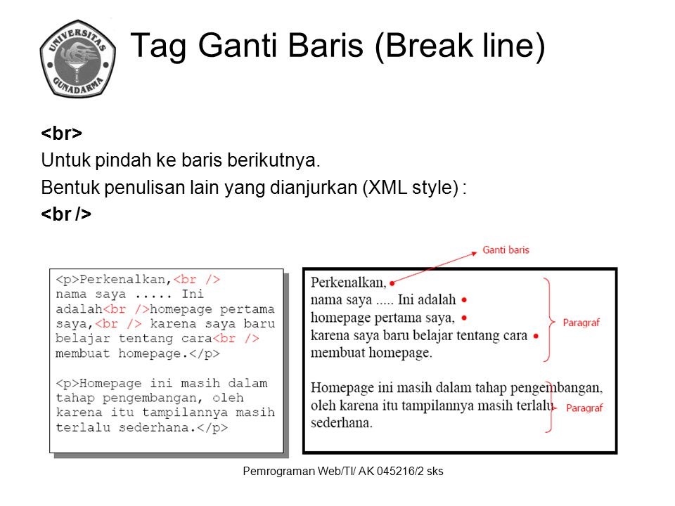 Tag Ganti Baris (Break line)