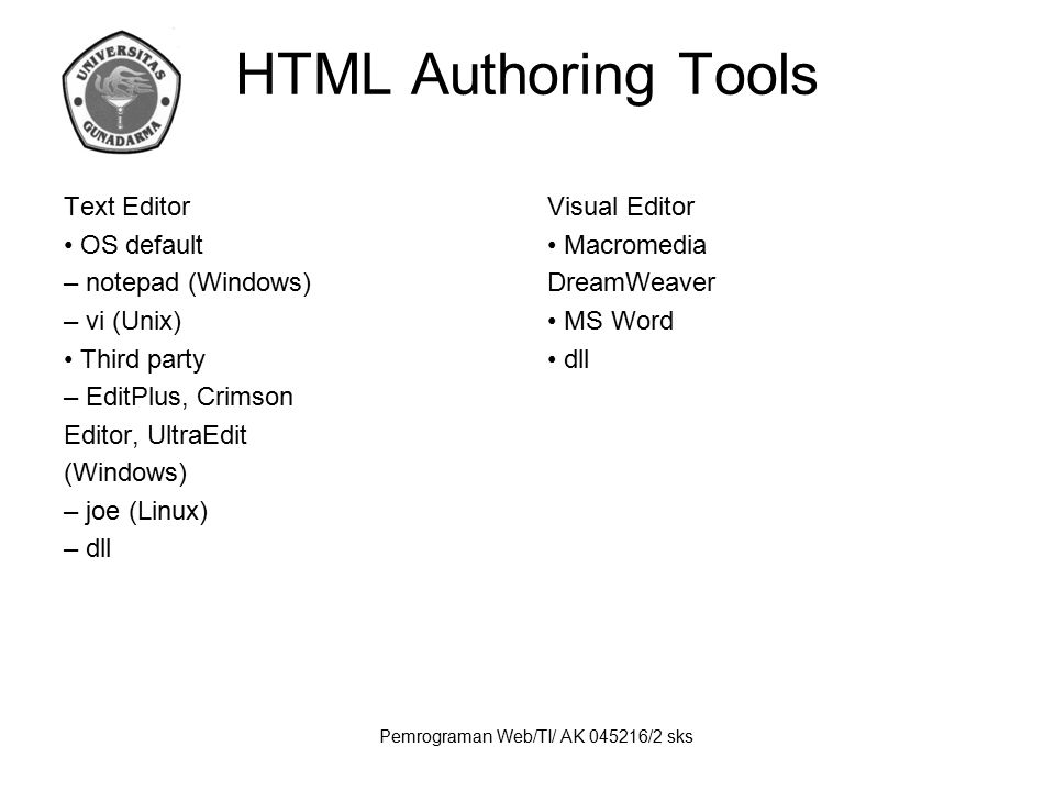 Pemrograman Web/TI/ AK 045216/2 sks