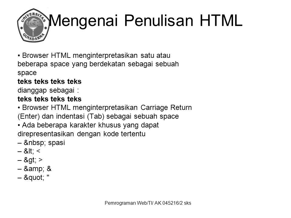 Mengenai Penulisan HTML