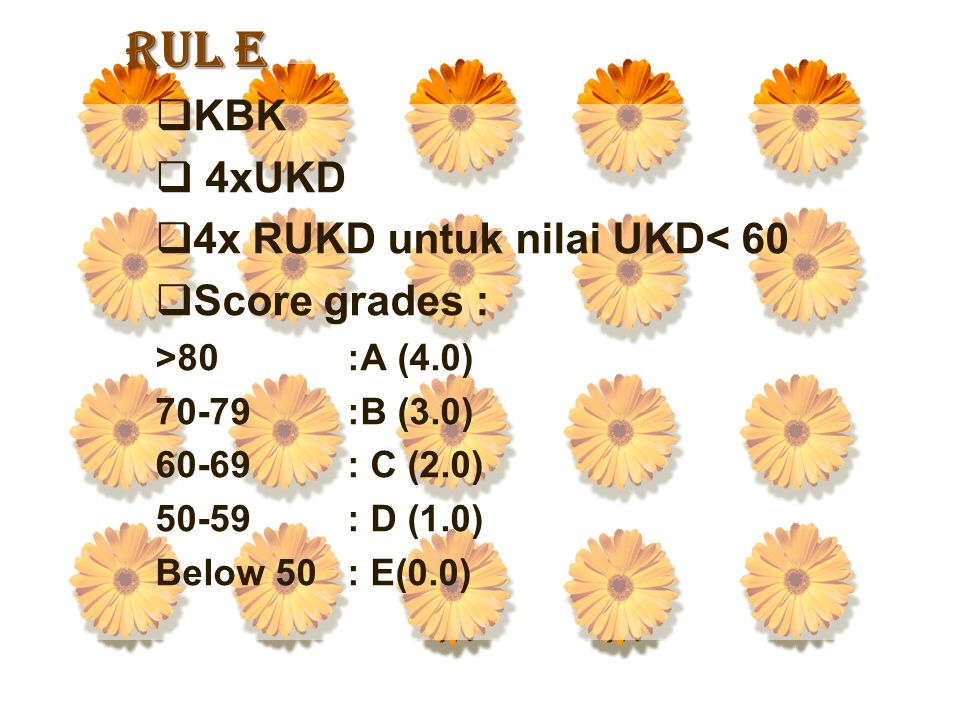 RUL E KBK 4xUKD 4x RUKD untuk nilai UKD< 60 Score grades :