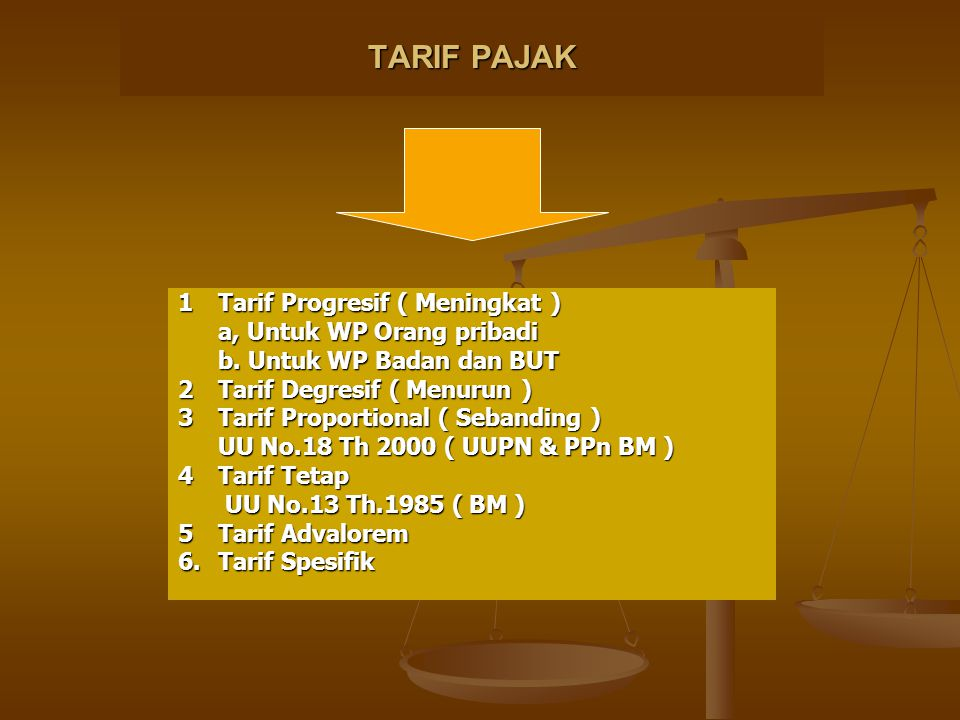 TARIF PAJAK 1 Tarif Progresif ( Meningkat ) a, Untuk WP Orang pribadi