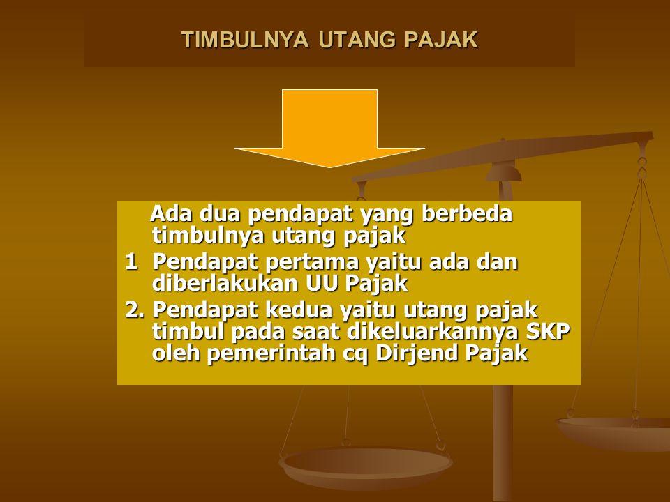 TIMBULNYA UTANG PAJAK Ada dua pendapat yang berbeda timbulnya utang pajak. 1 Pendapat pertama yaitu ada dan diberlakukan UU Pajak.