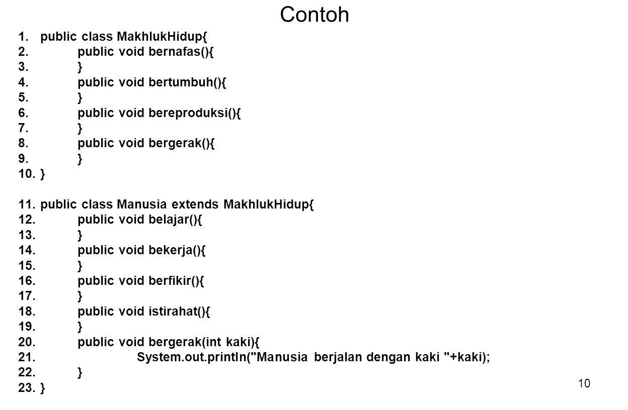 Contoh public class MakhlukHidup{ public void bernafas(){ }