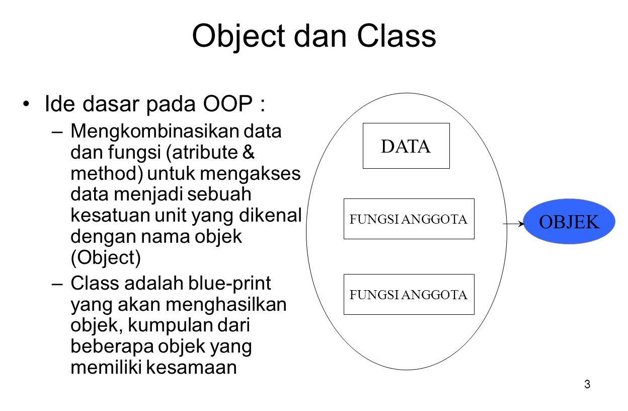 Object dan Class Ide dasar pada OOP :