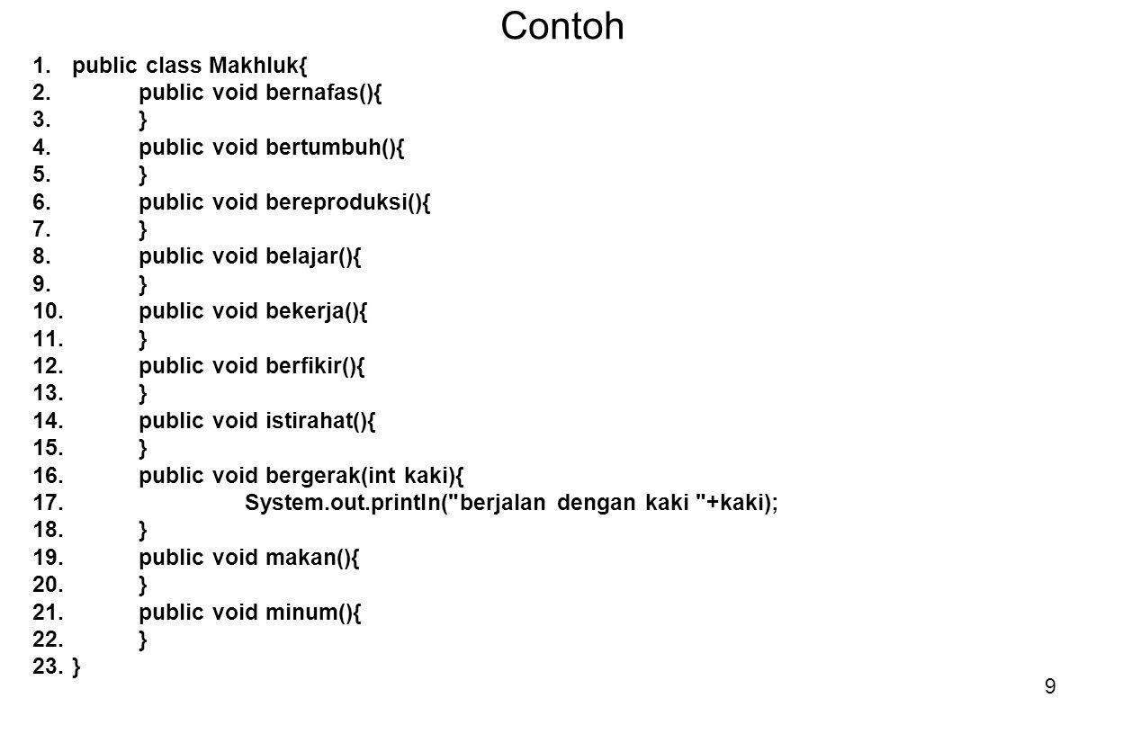 Contoh public class Makhluk{ public void bernafas(){ }