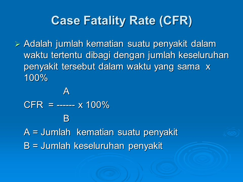 Case Fatality Rate (CFR)