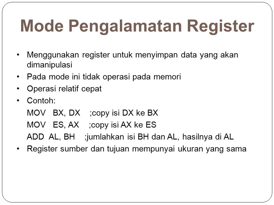 Mode Pengalamatan Register
