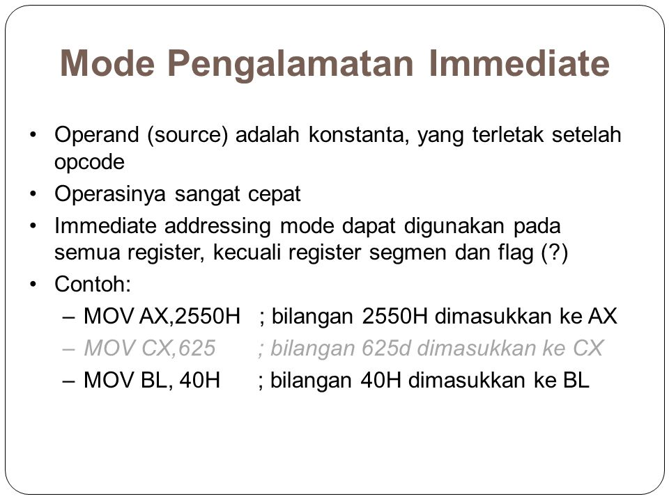 Mode Pengalamatan Immediate
