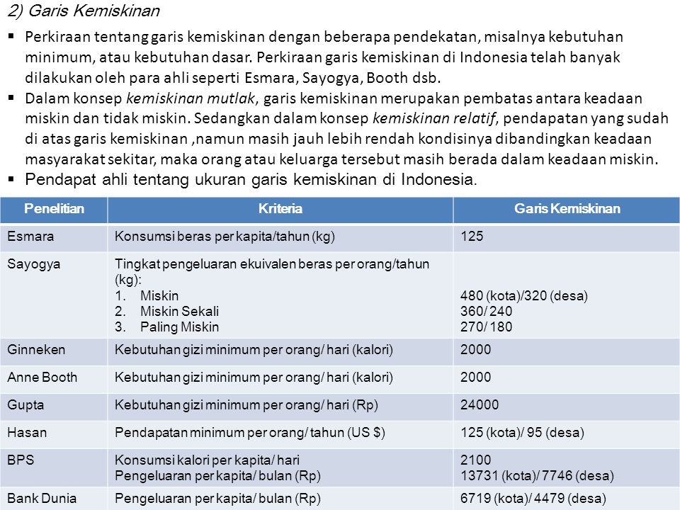 Pendapat ahli tentang ukuran garis kemiskinan di Indonesia.