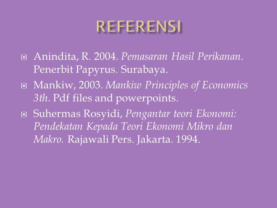 REFERENSI Anindita, R. 2004. Pemasaran Hasil Perikanan. Penerbit Papyrus. Surabaya.