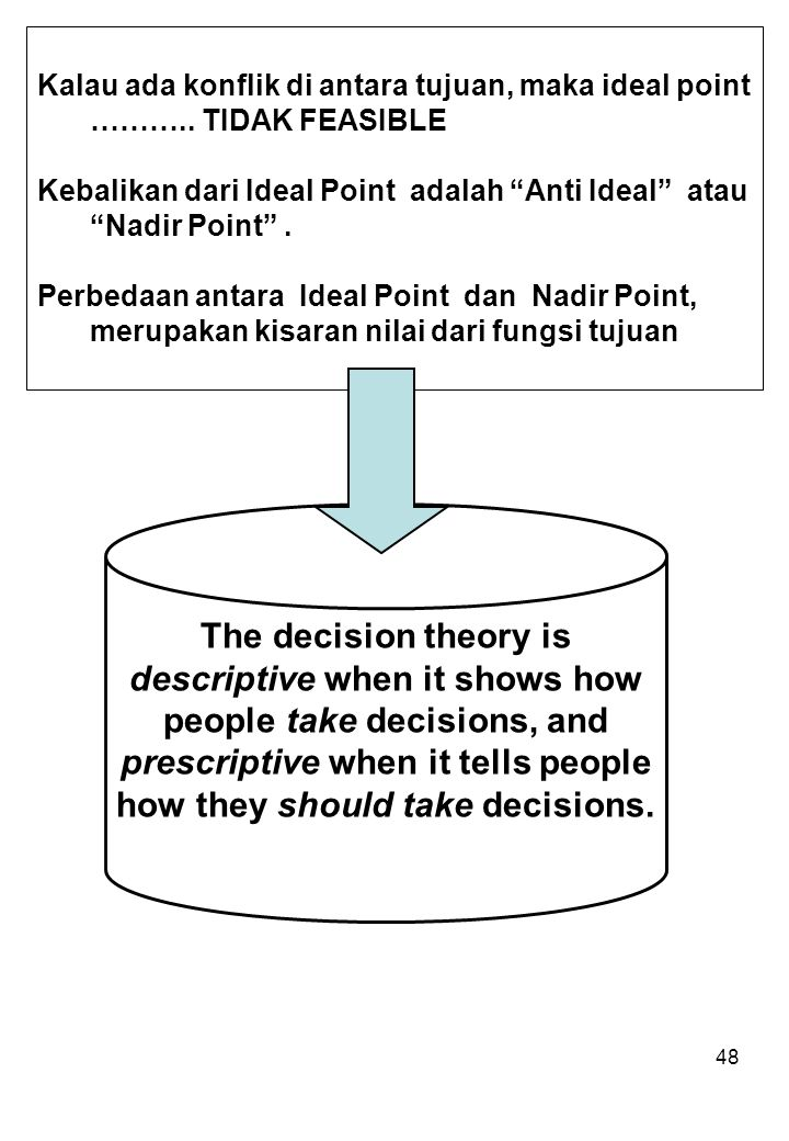 Kalau ada konflik di antara tujuan, maka ideal point ………