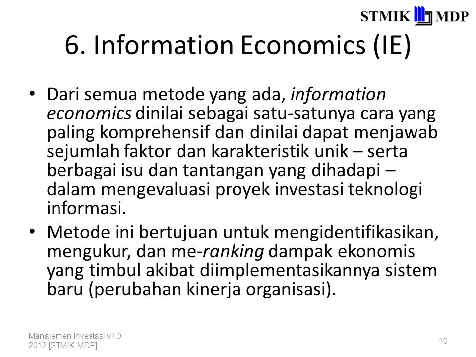 6. Information Economics (IE)