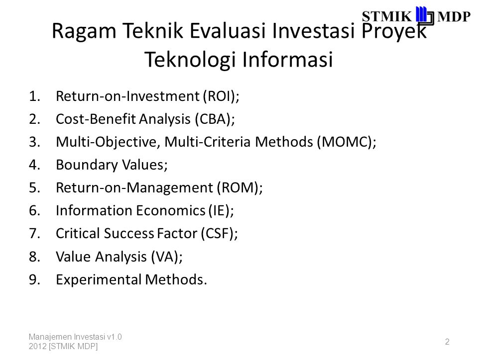 Ragam Teknik Evaluasi Investasi Proyek Teknologi Informasi