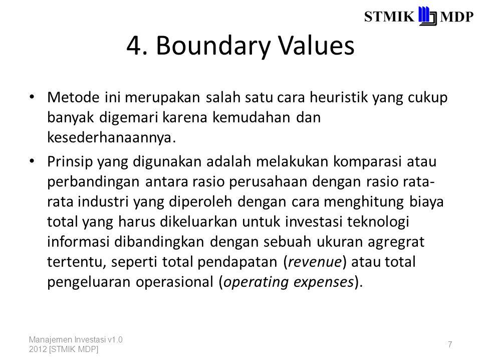 4. Boundary Values Metode ini merupakan salah satu cara heuristik yang cukup banyak digemari karena kemudahan dan kesederhanaannya.