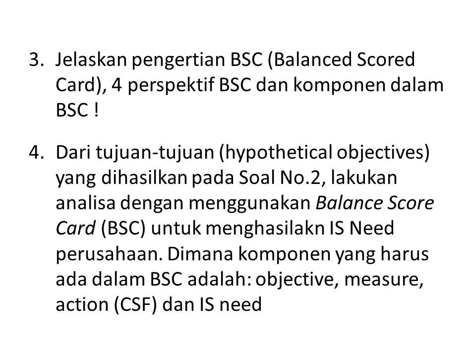 Jelaskan pengertian BSC (Balanced Scored Card), 4 perspektif BSC dan komponen dalam BSC !