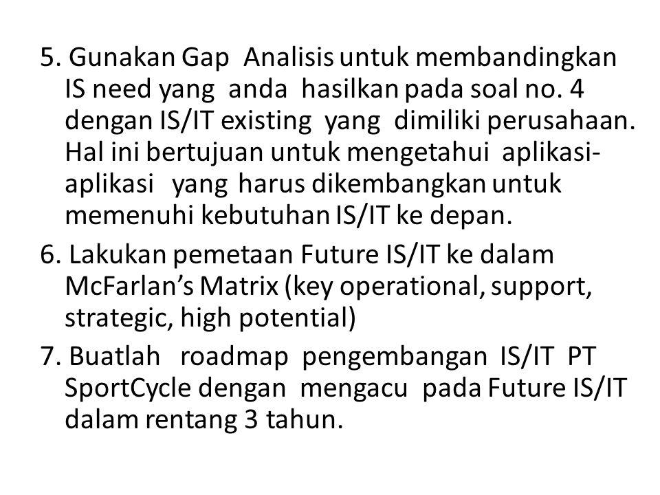 5. Gunakan Gap Analisis untuk membandingkan IS need yang anda hasilkan pada soal no. 4 dengan IS/IT existing yang dimiliki perusahaan. Hal ini bertujuan untuk mengetahui aplikasi-aplikasi yang harus dikembangkan untuk memenuhi kebutuhan IS/IT ke depan.