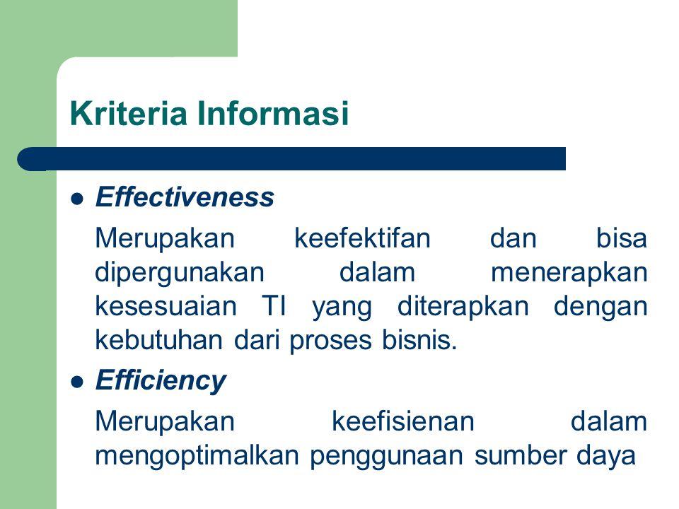 Kriteria Informasi Effectiveness