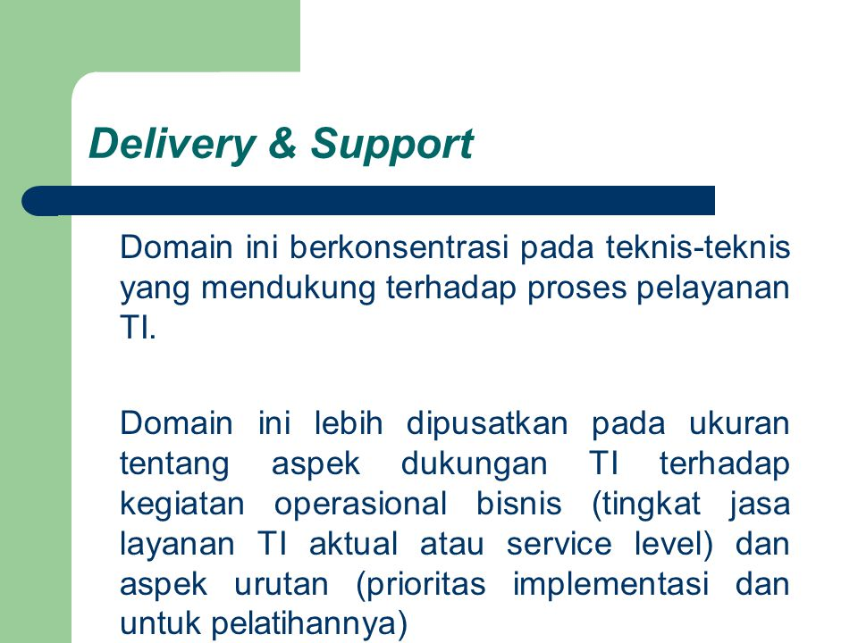 Delivery & Support