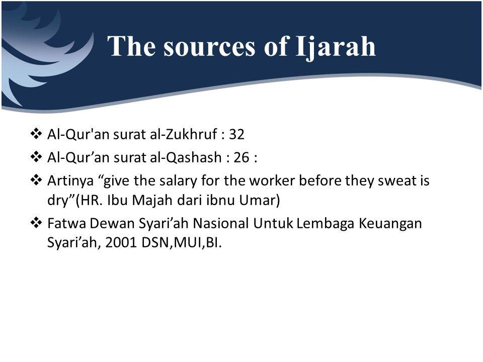 The sources of Ijarah Al-Qur an surat al-Zukhruf : 32