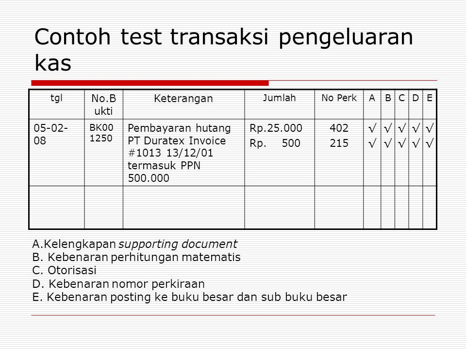 Contoh test transaksi pengeluaran kas