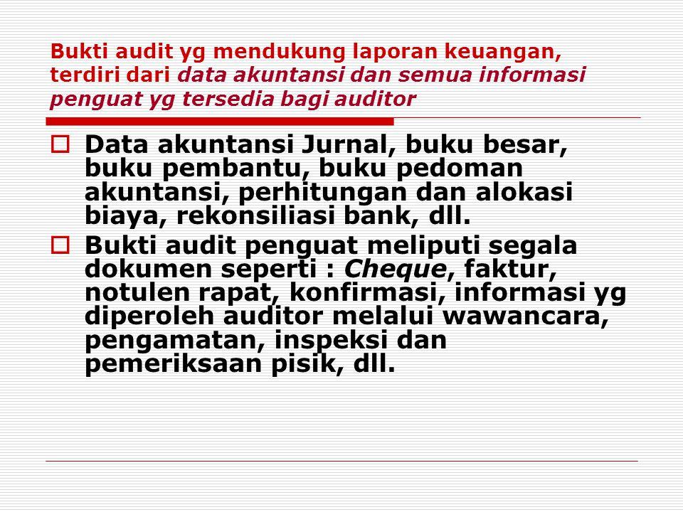 Bukti audit yg mendukung laporan keuangan, terdiri dari data akuntansi dan semua informasi penguat yg tersedia bagi auditor