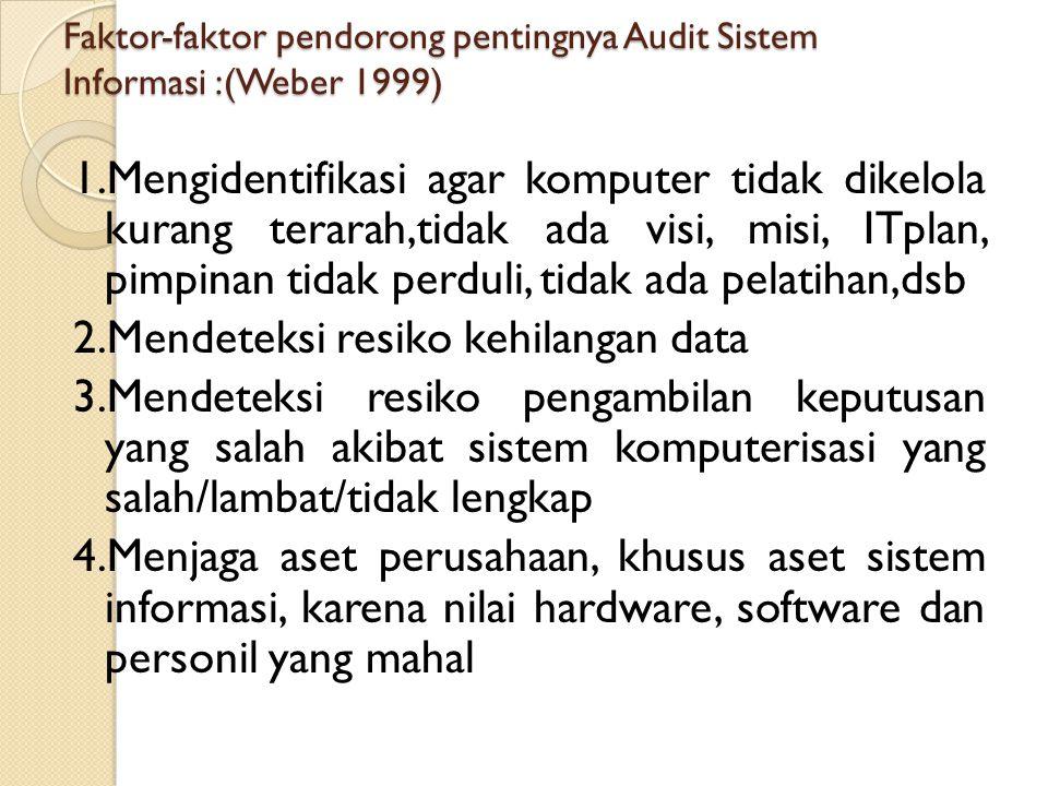 Faktor-faktor pendorong pentingnya Audit Sistem Informasi :(Weber 1999)