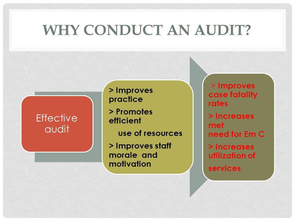 Why Conduct an Audit Effective audit > Improves practice