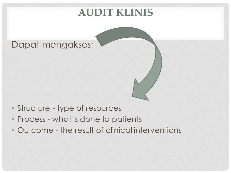 Audit Klinis Dapat mengakses: Structure - type of resources