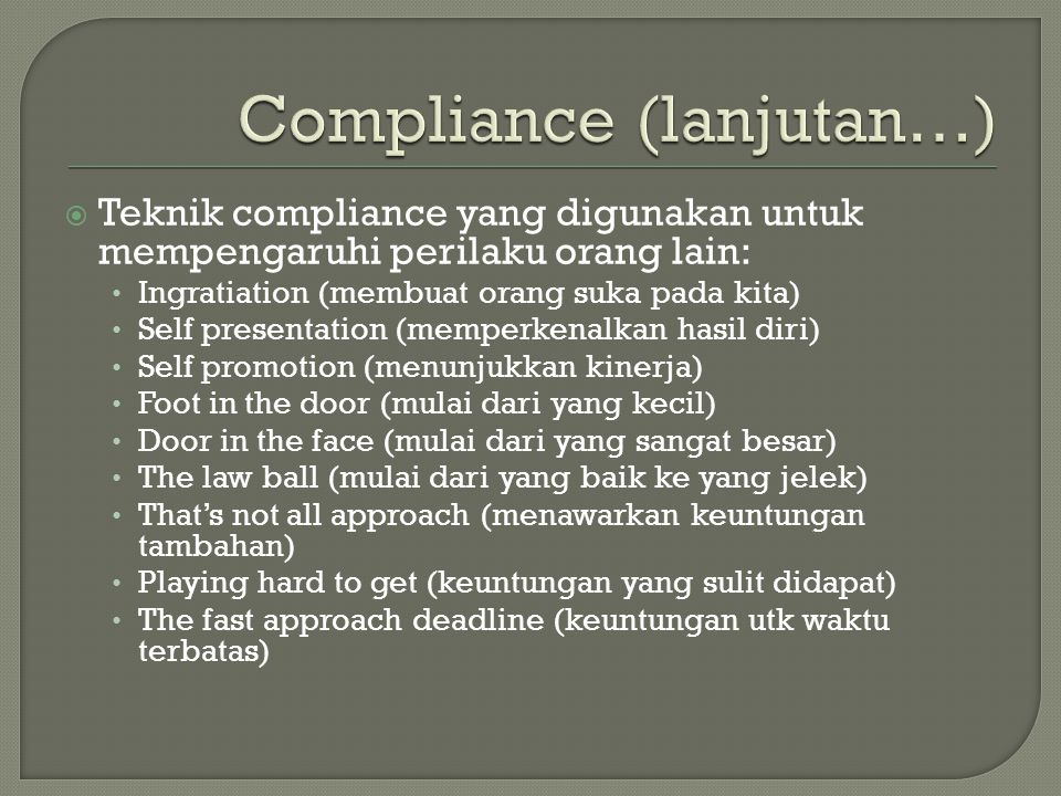 Compliance (lanjutan…)