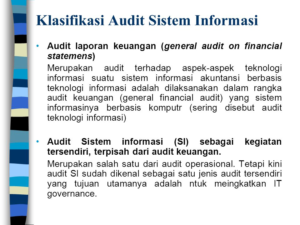 Klasifikasi Audit Sistem Informasi